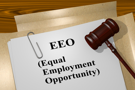 3D illustration of EEO (Equal Employment Opportunity) title on legal document