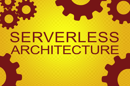 SERVERLESS ARCHITECTURE sign concept illustration with red gear wheel figures on yellow background Banque d'images - 92423488