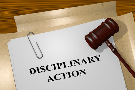 3D illustration of DISCIPLINARY ACTION title on legal document