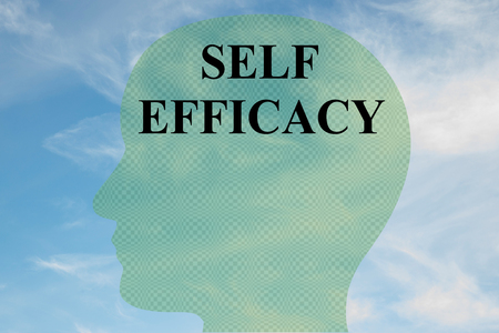 Render illustration of SELF EFFICACY title on head silhouette, with cloudy sky as a background.