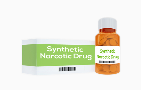 3D illustration of Synthetic Narcotic Drug title on pill bottle, isolated on white. Stock Photo