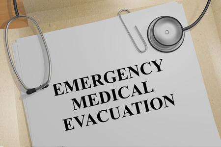 Ilustración 3D del título de EVACUACIÓN MÉDICA DE EMERGENCIA en un documento médico Foto de archivo - 93235825