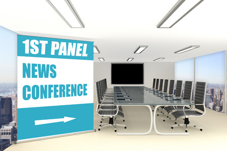 3D illustration of NEWS CONFERENCE title on a wide rollup placed in a conference room
