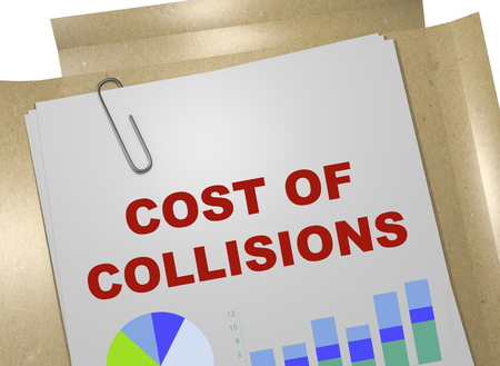 3D illustration of COST OF COLLISIONS title on business document Stock Photo