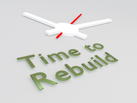 3D illustration of Time to Rebuild title with a clock as a background