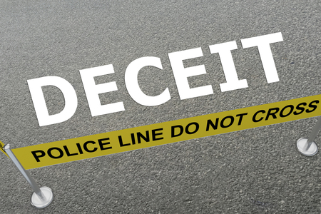 3D illustration of DECEIT title on the ground in a police arena