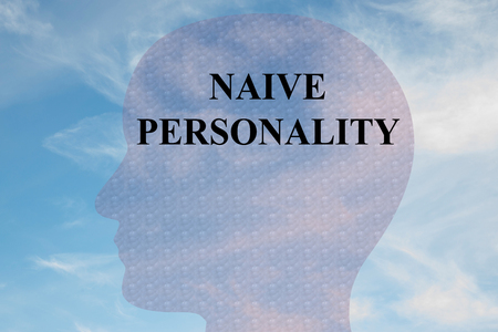Render illustration of NAIVE PERSONALITY title on head silhouette, with cloudy sky as a background. Stock Photo