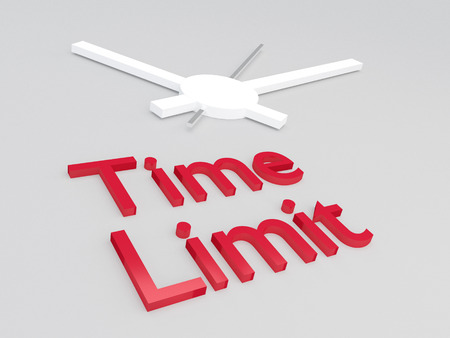 3D illustration of Time Limit title with a clock as a background
