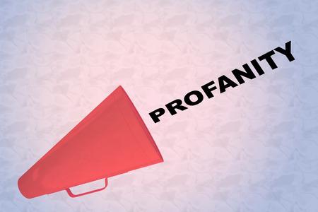 3D illustration of PROFANITY title flowing from a loudspeaker