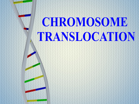 3D illustration of CHROMOSOME TRANSLOCATION script with DNA double helix , isolated on blue gradient background. 版權商用圖片