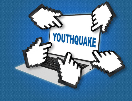 3D illustration of YOUTHQUAKE script with pointing hand icons pointing at the laptop screen from all sides