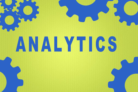 ANALYTICS sign concept illustration with blue gear wheel figures on green background
