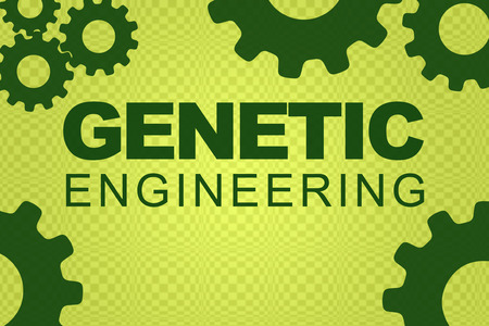 GENETIC ENGINEERING sign concept illustration with green gear wheel figures on pale green background