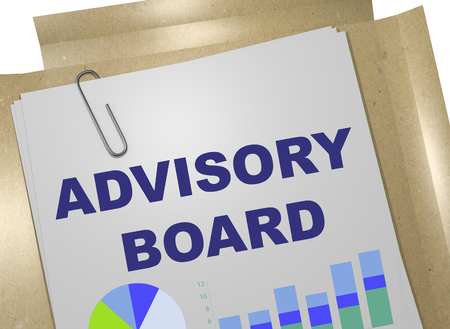 3D illustration of ADVISORY BOARD title on business document