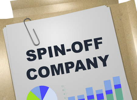 3D illustration of SPIN-OFF COMPANY title on business document