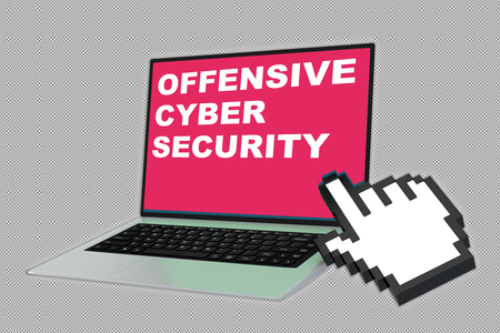3D illustration of OFFENSIVE CYBER SECURITY script with pointing hand icon pointing at the laptop screen