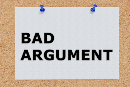 3D illustration of BAD ARGUMENT on cork board Stock Photo