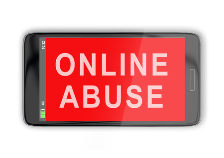 3D illustration of ONLINE ABUSE title on cellular screen, isolated on white Stock Photo