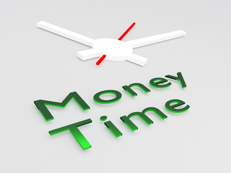 3D illustration of Money Time title with a clock as a background
