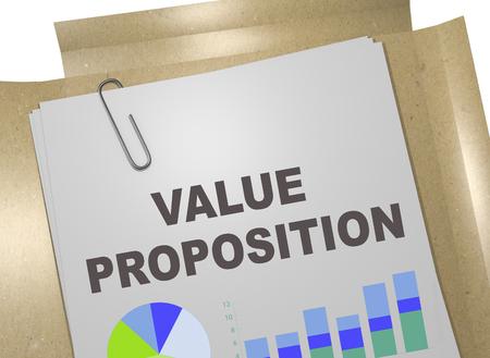 3D illustration of VALUE PROPOSITION title on business document