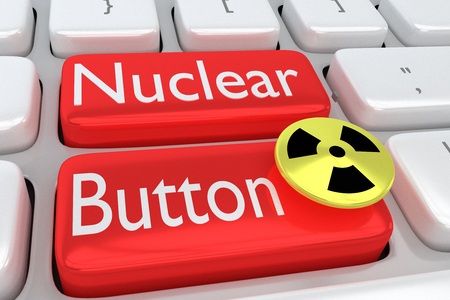 3D illustration of computer keyboard with the print Nuclear Button on two adjacent red buttons, allong with a nuclear button. Stock Photo