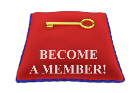 3D illustration of BECOME A MEMBER! Title on red velvet pillow near a golden key, isolated on white.