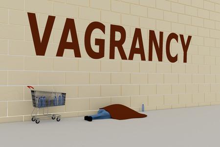 3D illustration of VAGRANCY title on brick wall