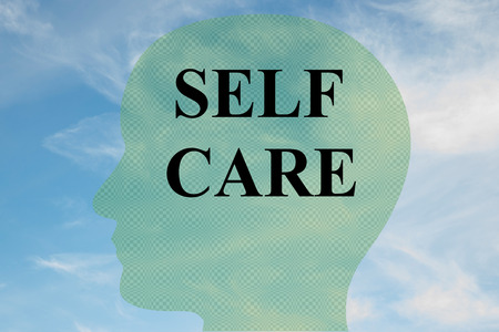 Render illustration of SELF CARE title on head silhouette, with cloudy sky as a background.