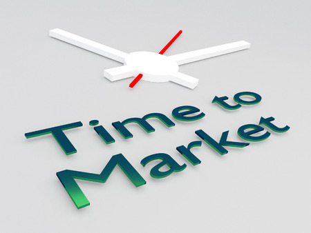 3D illustration of Time to Market title with a clock as a background Stock Photo