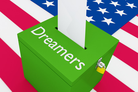 3D illustration of Dreamers script on a ballot box, with US flag as a background.