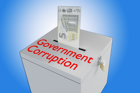 3D illustration of Government Corruption script on a ballot box, and a money bill been inserted into the ballot box, isolated over a blue gradient.  Stock Photo