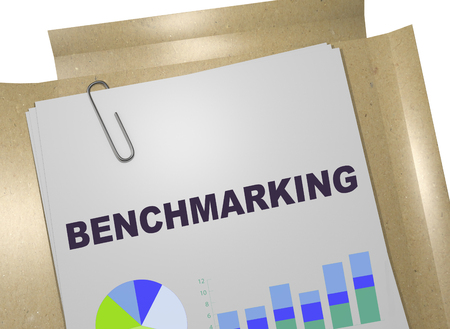3D illustration of BENCHMARKING title on business document