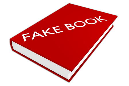 3D illustration of FAKE BOOK script on a book, isolated on white.