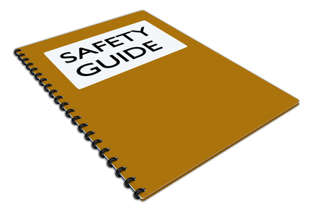 3D illustration of SAFETY GUIDE script on a booklet, isolated on white. Stock Photo