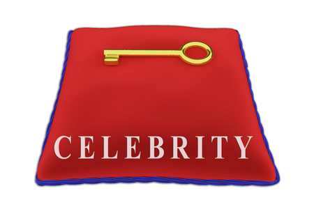 3D illustration of CELEBRITY Title on red velvet pillow near a golden key, isolated on white.