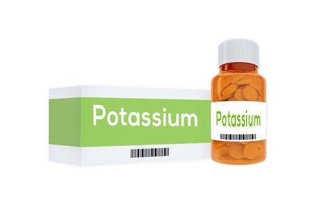 3D illustration of Potassium title on pill bottle, isolated on white. Stockfoto