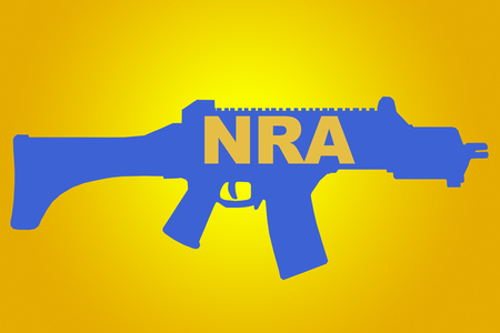 NRA sign concept illustration with blue rifle figure on yellow background Stock Photo