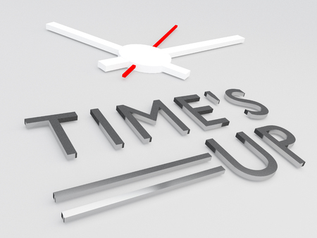 3D illustration of TIMES UP title with a clock as a background