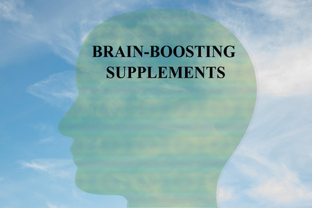 Render illustration of BRAIN-BOOSTING SUPPLEMENTS title on head silhouette, with cloudy sky as a background. Stock Photo