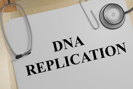 3D illustration of DNA REPLICATION title on a medical document Stock Photo