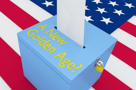 3D illustration of A New Golden Age?  script on a ballot box, with US flag as a background.