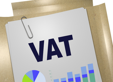 3D illustration of VAT title on business document Standard-Bild