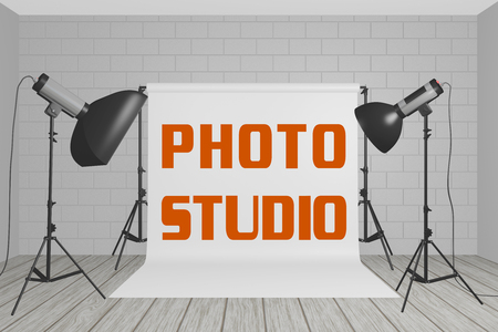 3D illustration of PHOTO STUDIO title on a white screen in a photographic studio