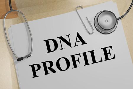 3D illustration of DNA PROFILE title on a medical document
