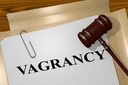 3D illustration of VAGRANCY title on legal document Banco de Imagens