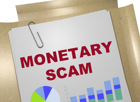 3D illustration of MONETARY SCAM title on business document