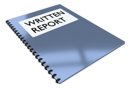 3D illustration of WRITTEN REPORT script on a booklet, isolated on white.