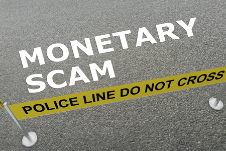 3D illustration of MONETARY SCAM title on the ground in a police arena