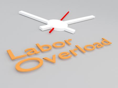 3D illustration of Labor Overload title with a clock as a background