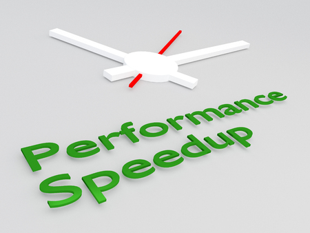 3D illustration of Performance Speedup title with a clock as a background